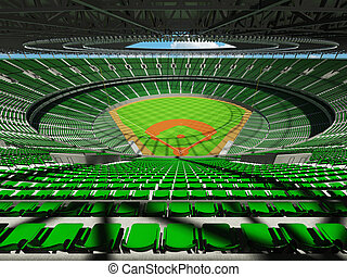 3D render of baseball stadium with green seats and VIP boxes...