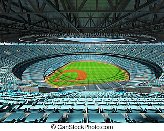 3D render of baseball stadium with sky blue seats and VIP...