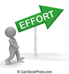 Effort Sign Shows Hard Work 3d Rendering - Effort Arrow Sign...