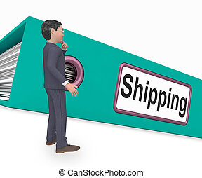 Shipping Folder Means Files Document 3d Rendering