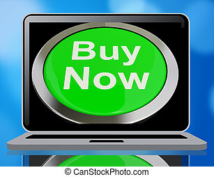 Buy Now Button In Green Showing Purchases 3d Rendering