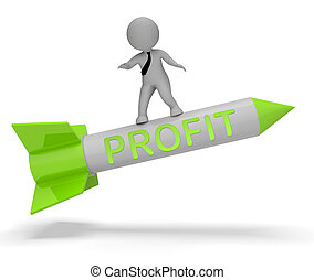 Profit Rocket Shows Growth Earnings 3d Rendering - Profit...