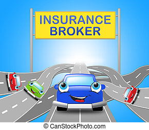 Auto Insurance Broker Shows Car Policy 3d Illustration -...