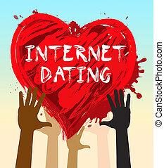 Internet Dating Represents Find Love 3d Illustration - Hands...