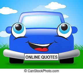 Online Quotes Represents Car Policies 3d Illustration -...