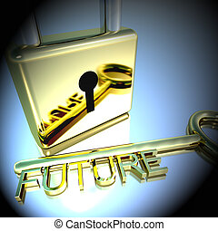 Padlock With Future Key Showing Wishes Hope 3d Rendering