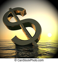 Dollar Sinking And Sunset Showing Depression Recession 3d Rendering