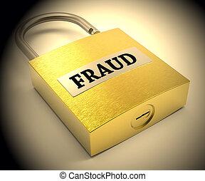 Fraud Padlock Showing Hoax Scam 3d Rendering - Fraud Padlock...