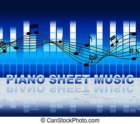 Piano Sheet Music Notes Shows Musical Notation - Piano Sheet...
