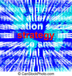Strategy Word Showing Planning And Vision 3d Rendering -...