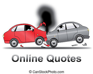 Online Quotes Shows Car Policy 3d Illustration - Online...