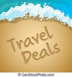 Travel Deals Indicates Discount Tours 3d Illustration -...