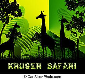 Kruger Safari Means Wildlife Reserve 3d Illustration -...