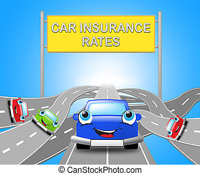 Car Insurance Rates Shows Policy 3d Illustration - Car...