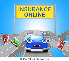 Auto Insurance Online Shows Car Policy 3d Illustration -...