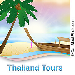 Thailand Tours Means Travels In Asia 3d Illustration -...