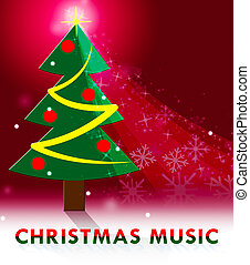 Christmas Music Showing Xmas Songs 3d Illustration -...