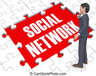 Social Network Puzzle Shows Virtual Interactions 3d Rendering
