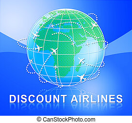 Discount Airlines Shows Special Offer Flights 3d Illustration