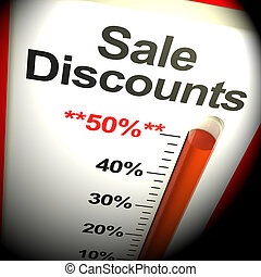 Fifty Percent Sale Discounts Showing Bargain 3d Rendering -...