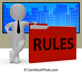 Rules Folder Showing Guidlines File 3d Rendering - Rules...