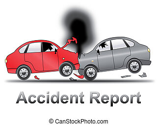 Car Accident Report Shows Collision 3d Illustration