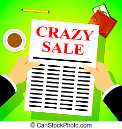 Crazy Sale Means Retail Clearance 3d Illustration - Crazy...
