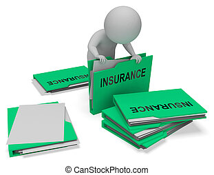 Insurance Folders Represents Contract Covered 3d Rendering -...