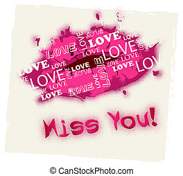 Miss You Means Absense Love And Longing - Miss You Lips...