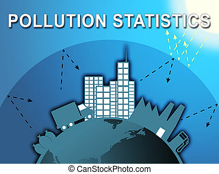Pollution Statistics Shows Fouling Stats 3d Illustration -...