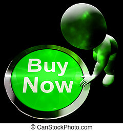 Buy Now Button Shows Purchasing 3d Rendering