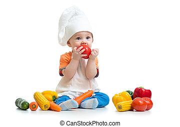 男の子, 野菜, 隔離された, シェフ, 背景, 微笑, 白, 子供
