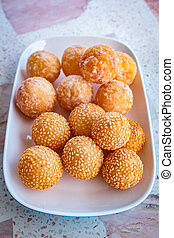 Sesame balls, many kind of thai dessert. - many kind of thai...