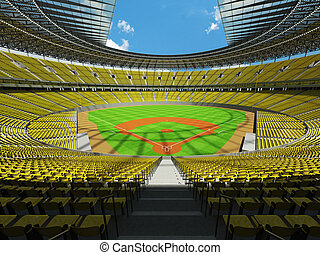 3D render of baseball stadium with yellow seats and VIP...