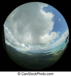 tropical island timelapse with fisheye lens