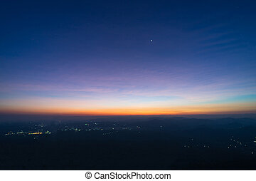 Sunrise on top mountain with star