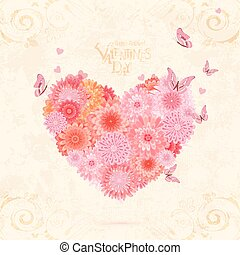 floral valentine from pink chrysanthemums with flying butterflie