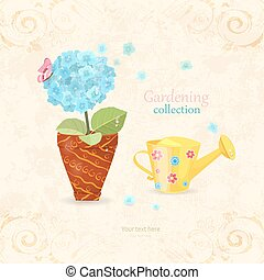 blue hydrangea planted in ethnic flowerpot with a cute can...
