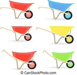 collection of colorful wheelbarrows carts for your design