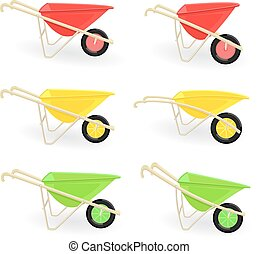 collection of different colored wheelbarrows carts for your...