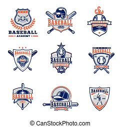 Vector set of colored baseball badges, stickers, emblems...