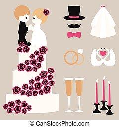 Vector illustration of wedding color symbols set - Vector...