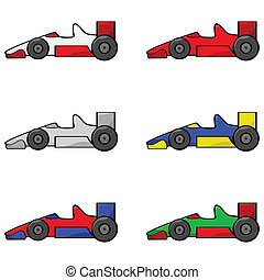 Racing cars - Cartoon illustration of a set of different...