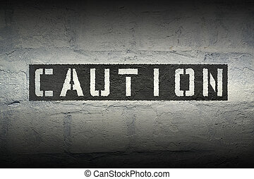 caution word gr - caution stencil print on the grunge white...