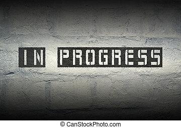 in progress gr - in progress stencil print on the grunge...
