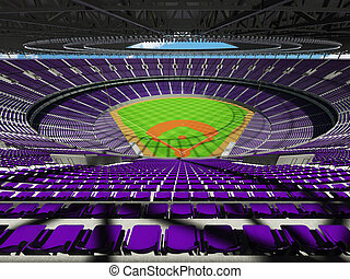 3D render of baseball stadium with purple seats and VIP...