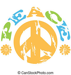 Peace 70s - Concept illustration showing a peace sign with...