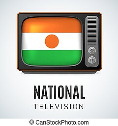 National Television - Vintage TV and Flag of Niger as Symbol...