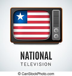 National Television - Vintage TV and Flag of Liberia as...