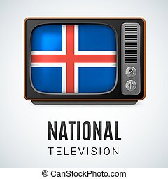 National Television - Vintage TV and Flag of Iceland as...